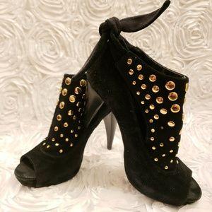 BCBGeneration Black Gold Studded Peep Toe Heels 6M
